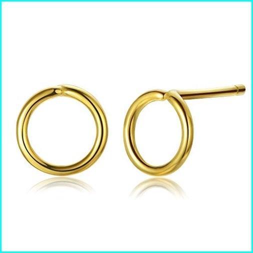 激安 Open Circle Studs [18K Gold Plated .925 Sterling Silver] Small Tiny [6mm] Round Earrings Studs [Hypoallergenic], 魅力的な価格 45753bd7