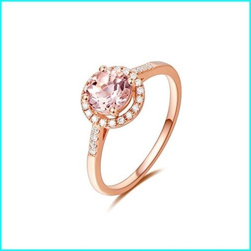 【即日発送】 Carleen Jewelry SI 14K Solid Rose Band Gold 1.0cttw Pink Morganite 0.135cttw Diamond Halo Engagement Wedding Band Ring Dainty Fine Jewelry For Women Girls (Clarity SI, 2019特集:46d2a360 --- airmodconsu.dominiotemporario.com