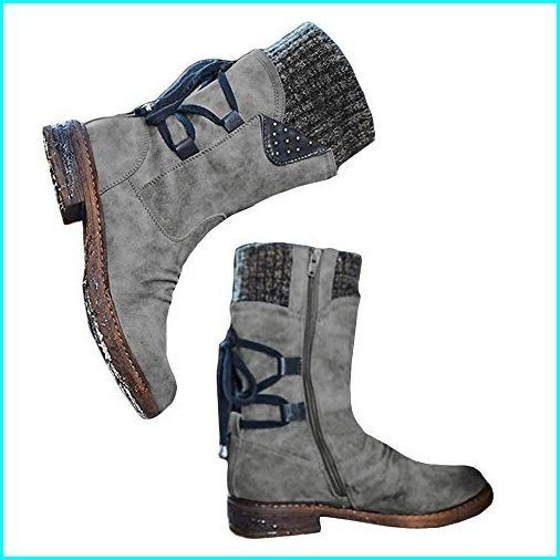 正規品販売! Blivener Women's Mid Calf Lace Boots Winter Snow Boots Blivener Boots Fashion Side Zip Back Lace Up Riding Boots Grey 39【並行輸入品】, e楽器ネット:6af610a0 --- fresh-beauty.com.au