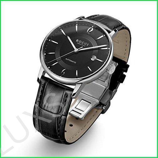 Bocci メンズ 自動腕時計 ステンレススチールバンド 日本製ムーブメント 機械式腕時計 防水 夜光 合成サ