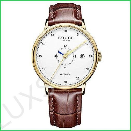 NORDIC WATCH Men's Automatic Watches Gold White Dial Leather Band Japanese Movement Waterproof Luminous Stainless Steel Case Casual Style Li