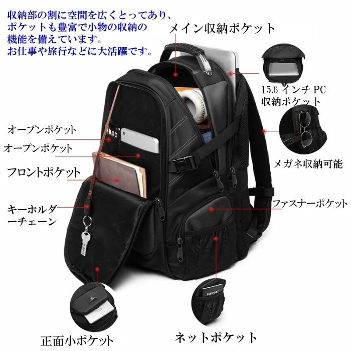 リュック  ビジネスリュック  リュックサック メンズ  デイパック  メンズバッグ 通学    通勤 旅行  防災 バッグ 大容量 黒 YESO 32L Y12060 送料無料|lwinbag|12