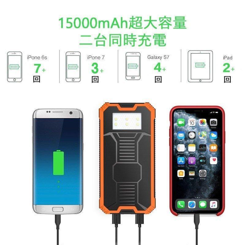 モバイルバッテリー  ソーラー モバイルバッテリー 15000mAh  大容量 ソーラーチャージャー 充電器 2USB出力ポート 災害 旅行 iPhone/Android(CDB-TYN)|lzgp|04
