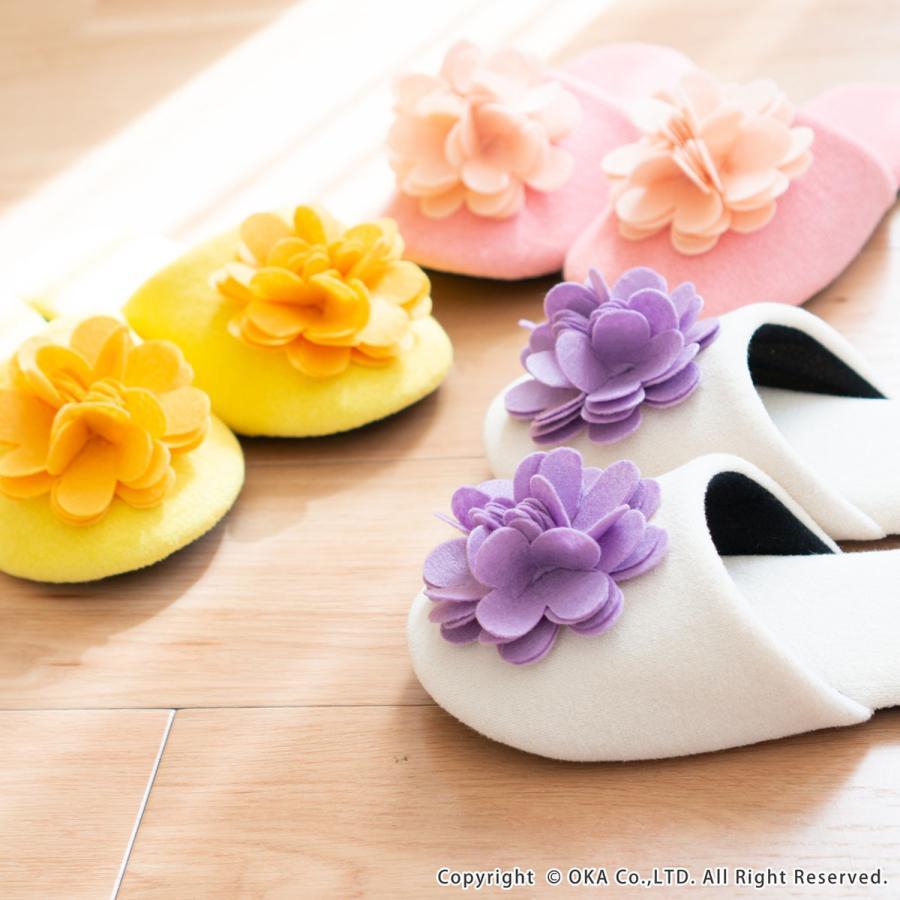 スリッパ フェルトのお花がキュートなスリッパ ジュエルフラワー (暖か あたたか ルームシューズ 洗える タオル地 おしゃれ 花 コサージュ)  オカ|m-rug|10