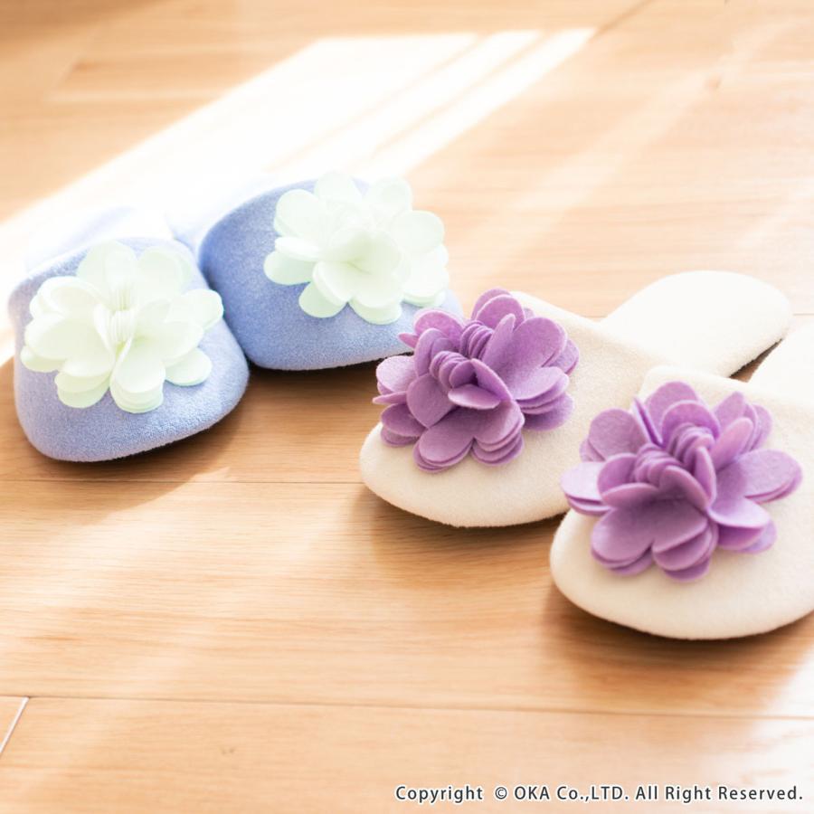 スリッパ フェルトのお花がキュートなスリッパ ジュエルフラワー (暖か あたたか ルームシューズ 洗える タオル地 おしゃれ 花 コサージュ)  オカ|m-rug|11