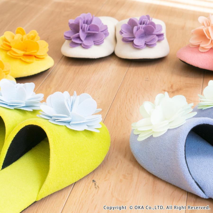 スリッパ フェルトのお花がキュートなスリッパ ジュエルフラワー (暖か あたたか ルームシューズ 洗える タオル地 おしゃれ 花 コサージュ)  オカ|m-rug|12