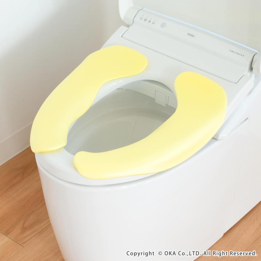 便座カバー 拭けるらくらく便座クッション3D  (立体 便座カバー 洗える あたたか あったか 節電 貼る 便座 トイレカバー トイレ用品)  オカ m-rug 15