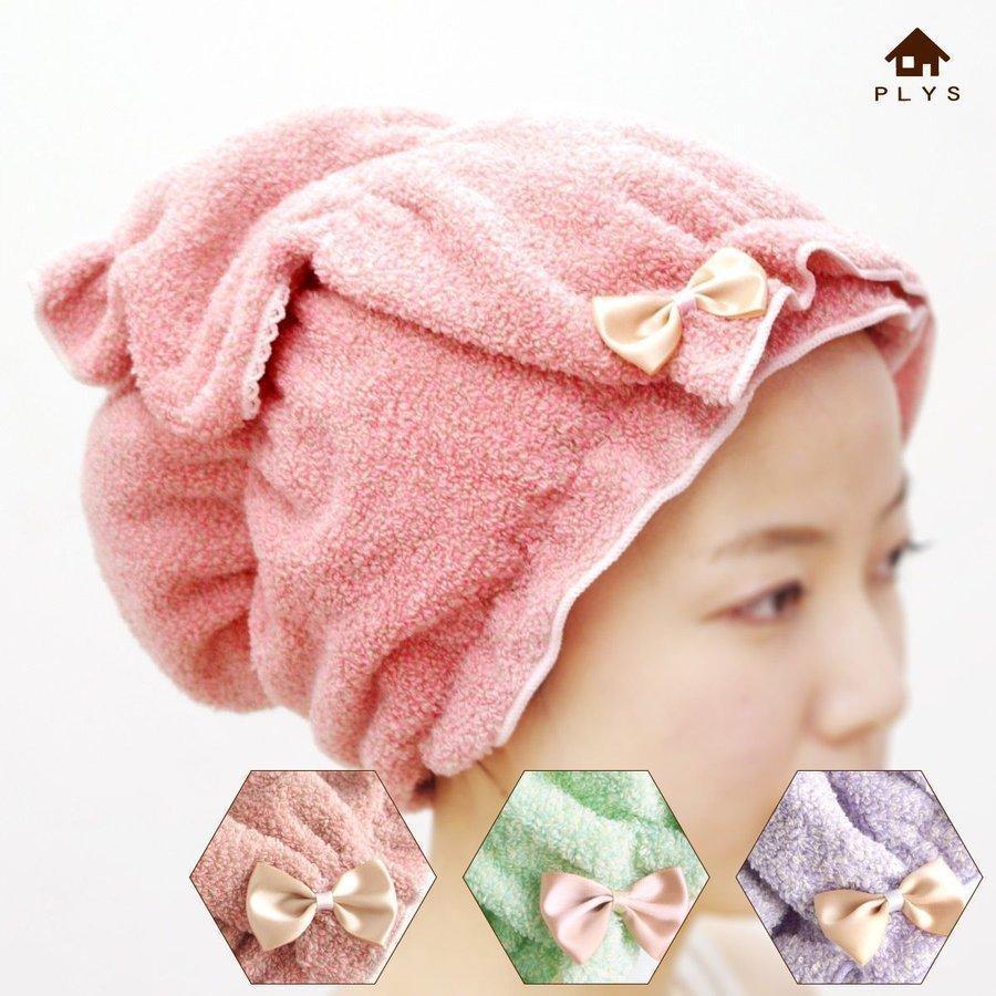 シェリールスフレ ヘアドライタオル 髪用 伸びる お風呂上がり 入浴後 もこもこ かわいい メランジェ  リボン オカ|m-rug
