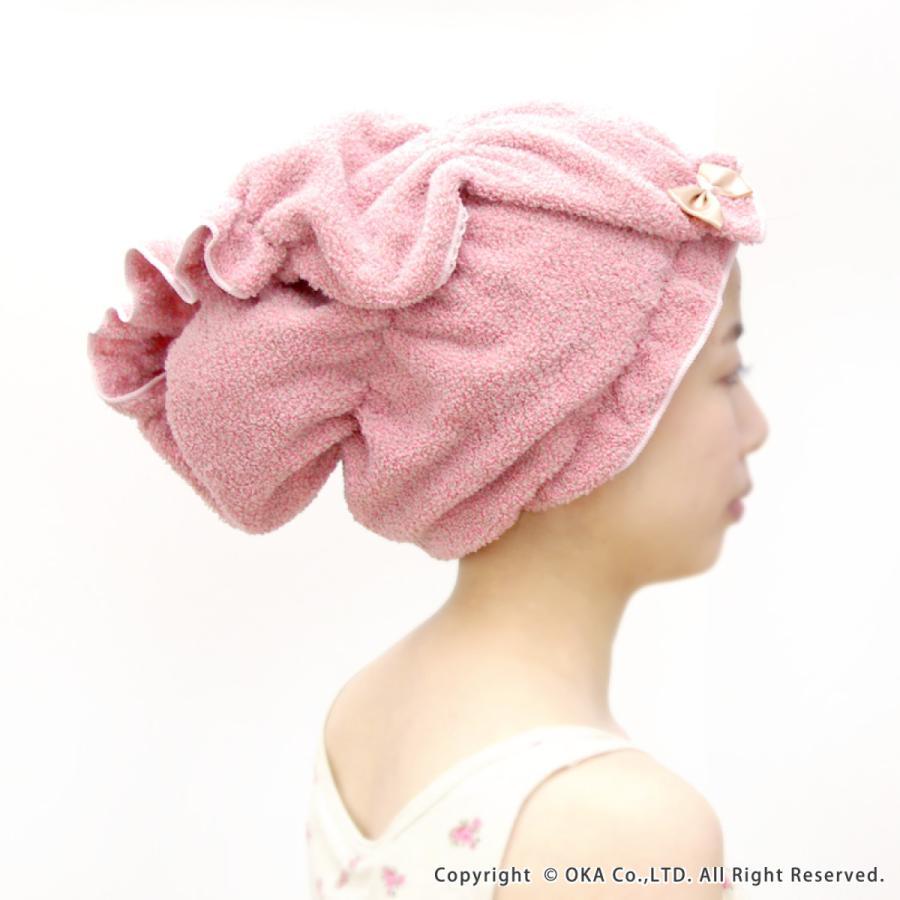 シェリールスフレ ヘアドライタオル 髪用 伸びる お風呂上がり 入浴後 もこもこ かわいい メランジェ  リボン オカ|m-rug|04