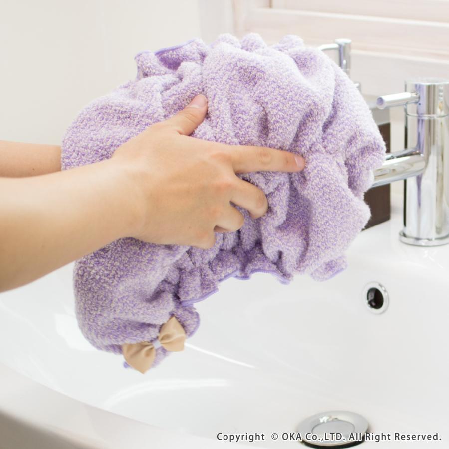 シェリールスフレ ヘアドライタオル 髪用 伸びる お風呂上がり 入浴後 もこもこ かわいい メランジェ  リボン オカ|m-rug|06