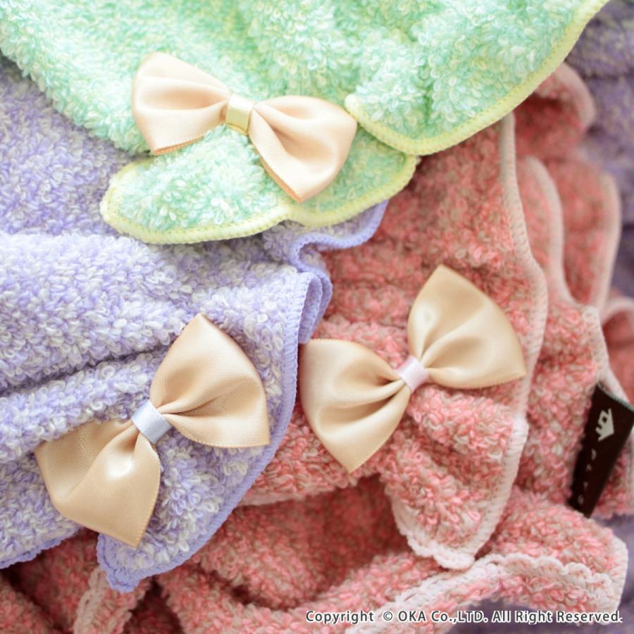 シェリールスフレ ヘアドライタオル 髪用 伸びる お風呂上がり 入浴後 もこもこ かわいい メランジェ  リボン オカ|m-rug|08