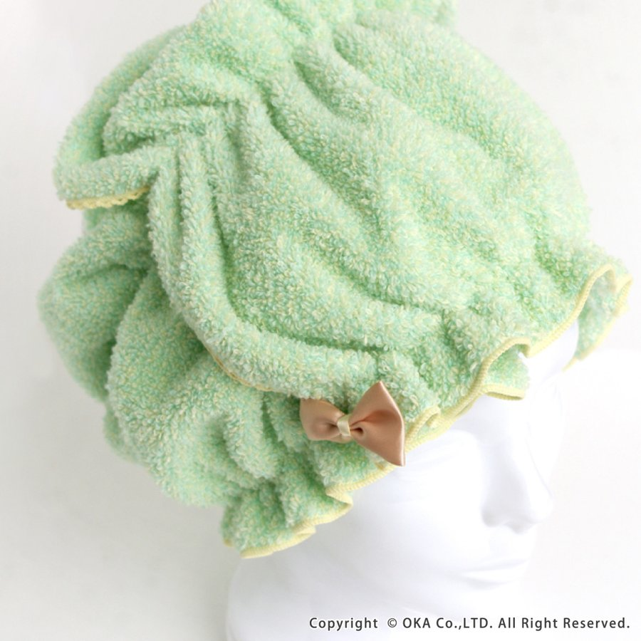 シェリールスフレ ヘアドライタオル 髪用 伸びる お風呂上がり 入浴後 もこもこ かわいい メランジェ  リボン オカ|m-rug|09