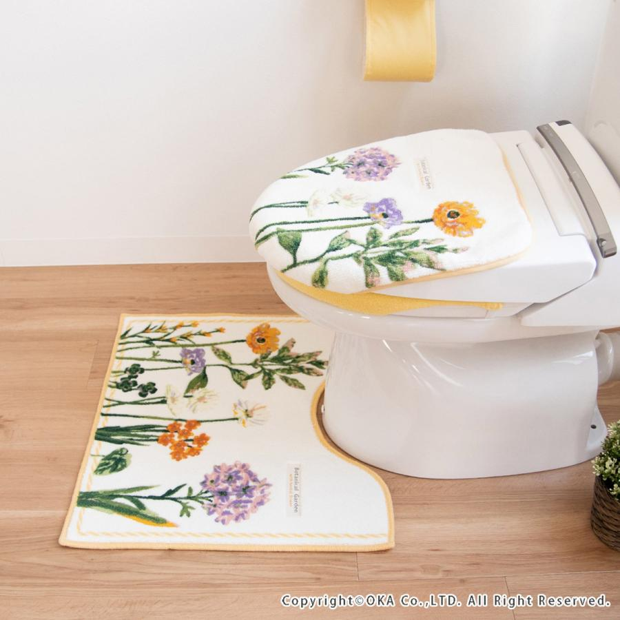 トイレマット  (約55×60cm)  ボタニカルガーデン  (パープル 風水 北欧 トイレ マット おしゃれ トイレラグ 洗濯可 トイレ用品 日本製)  オカ|m-rug|05