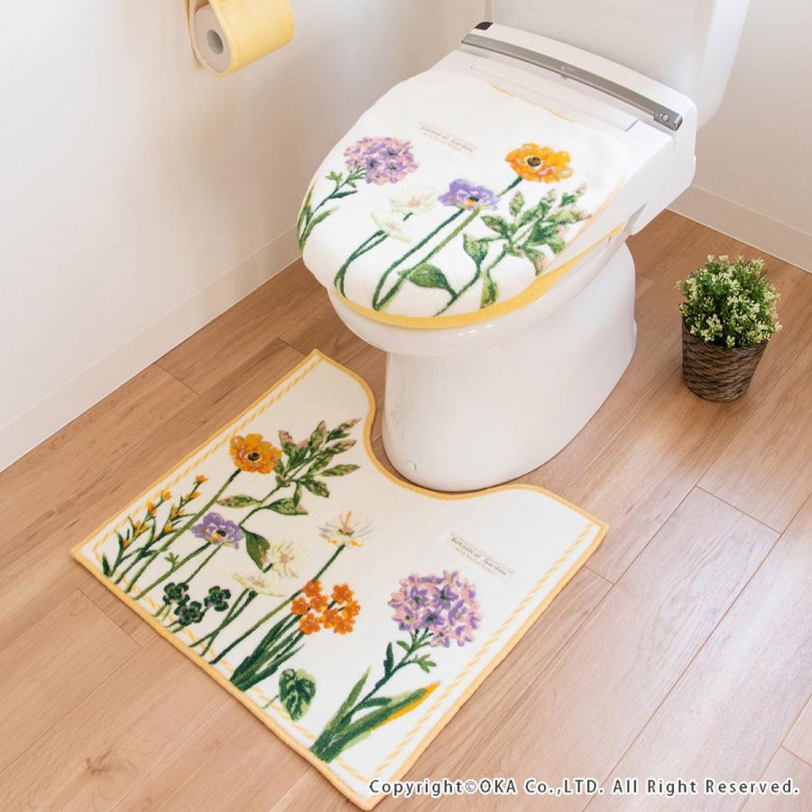 トイレマット  (約55×60cm)  ボタニカルガーデン  (パープル 風水 北欧 トイレ マット おしゃれ トイレラグ 洗濯可 トイレ用品 日本製)  オカ|m-rug|06