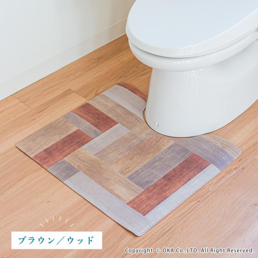拭いてお手入れするトイレマット 約55×60cm(トイレマット 拭ける 北欧 ねこ ネコ クッション 清潔) オカ m-rug 11
