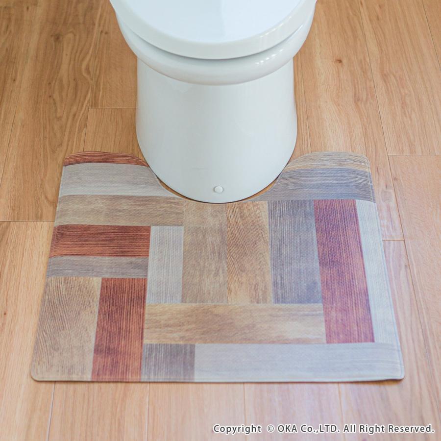 拭いてお手入れするトイレマット 約55×60cm(トイレマット 拭ける 北欧 ねこ ネコ クッション 清潔) オカ m-rug 12
