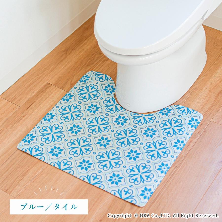 拭いてお手入れするトイレマット 約55×60cm(トイレマット 拭ける 北欧 ねこ ネコ クッション 清潔) オカ m-rug 13