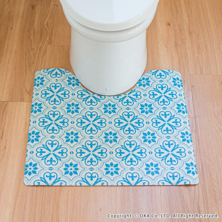 拭いてお手入れするトイレマット 約55×60cm(トイレマット 拭ける 北欧 ねこ ネコ クッション 清潔) オカ m-rug 14