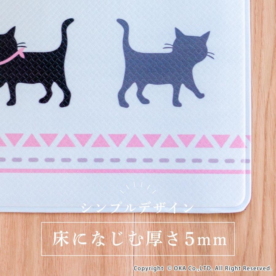拭いてお手入れするトイレマット 約55×60cm(トイレマット 拭ける 北欧 ねこ ネコ クッション 清潔) オカ m-rug 05