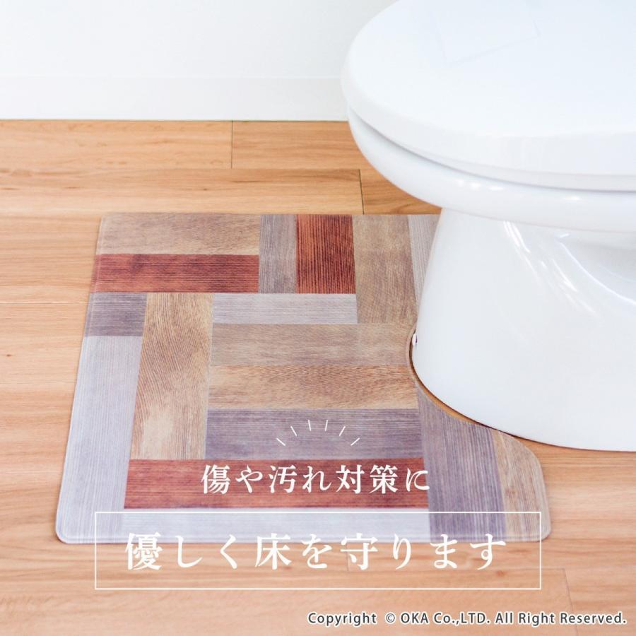 拭いてお手入れするトイレマット 約55×60cm(トイレマット 拭ける 北欧 ねこ ネコ クッション 清潔) オカ m-rug 06