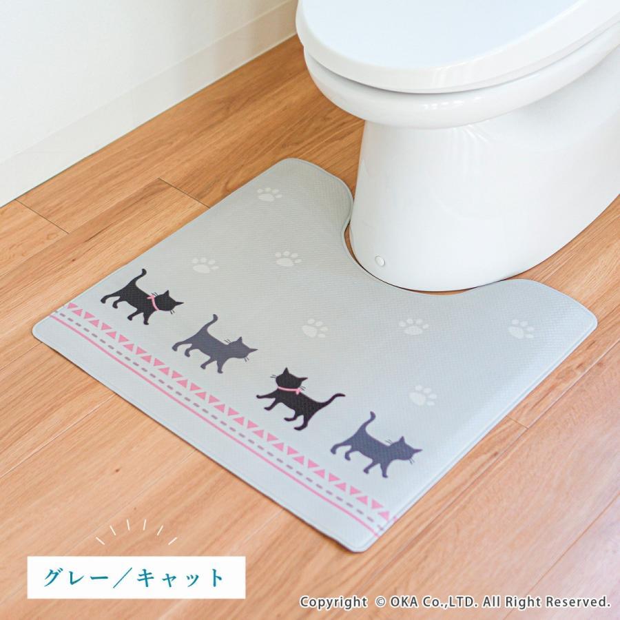 拭いてお手入れするトイレマット 約55×60cm(トイレマット 拭ける 北欧 ねこ ネコ クッション 清潔) オカ m-rug 09