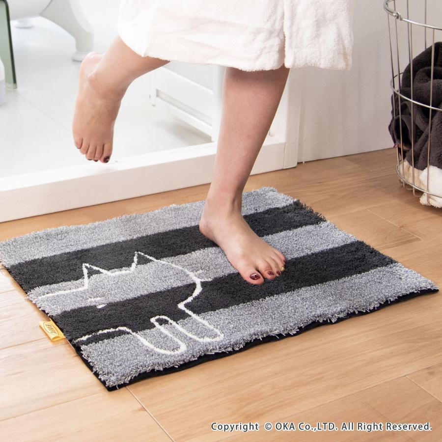 バスマット 吸水 速乾 乾度良好 うちねこ 約45×60cm  (おしゃれ お風呂マット 足ふきマット 洗濯可 日本 メーカー ネコ 猫)  オカ|m-rug|14