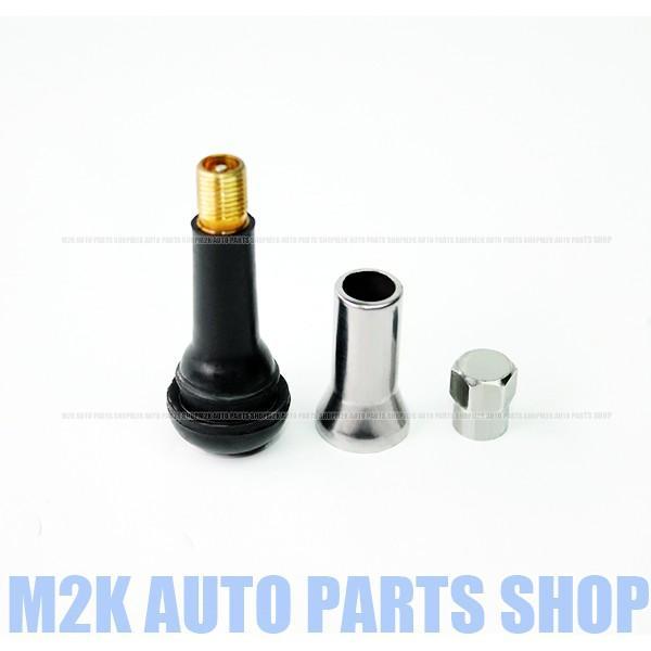 スリーブ付 TR414 エアーバルブ 4個 セット エア バルブ スナップインバルブ チューブレスタイヤ ゴムバルブ フルカバー アルミシルバー 銀 C27|m2k|02