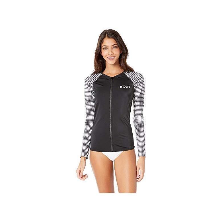 ロキシー Roxy Long Sleeve Zipper Fashion Rashguard レディース 水着 Bright 白い Vichy