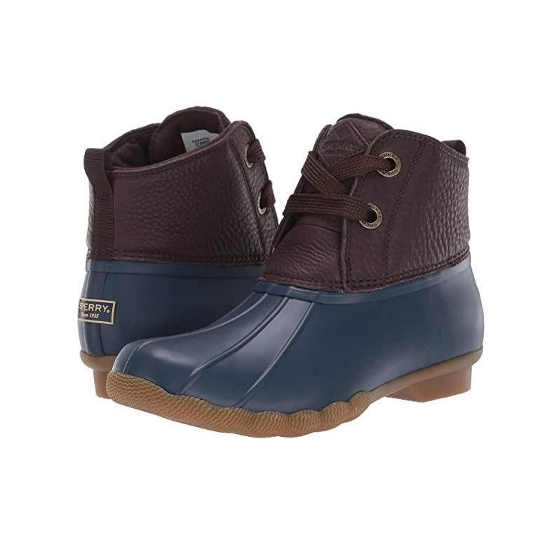 最新入荷 Sperry Leather Sperry Saltwater 2-Eye Leather レディース Brownu002FNavy ブーツ Sperry Brownu002FNavy, 着物道楽みなとや:47c6aa3d --- fresh-beauty.com.au