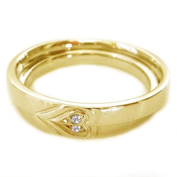 最高級のスーパー イエローゴールド ペアリング ダイヤモンド ペア2本セット 重ねるとハート 結婚指輪 マリッジリング K18 ダイヤ ストレート カップル, サイバーベイ a5d06e39