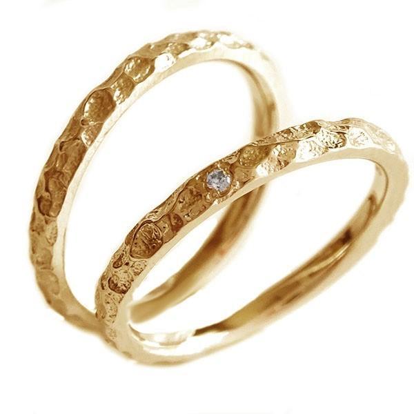 【最安値挑戦!】 ペアリング ダイヤモンド ピンクゴールドk18 ペア2本セット 結婚指輪 マリッジリング K18pg, 柵原町 f70081bd