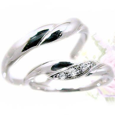 本物 ダイヤモンド ホワイトゴールド ペアリング 結婚指輪 マリッジリング V字ライン 2本セット K18wg 指輪 ダイヤ 0.06ct, プラスワンツールズ 2974a608