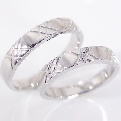 新しいブランド ダイヤモンド ホワイトゴールド 結婚指輪 マリッジリング ペアリング ペア 2本セット K18wg 指輪 ダイヤ 0.015ct, ダザイフシ a0799901