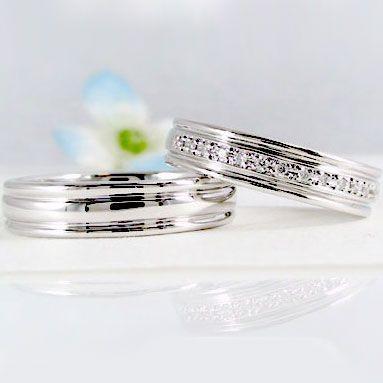 【名入れ無料】 ダイヤモンド ホワイトゴールド 結婚指輪 ペアリング マリッジリング 一文字 ペア 2本セット K18wg 指輪 ダイヤ 0.10ct, インテリアと雑貨のお店エクリティ 7be6f8b3