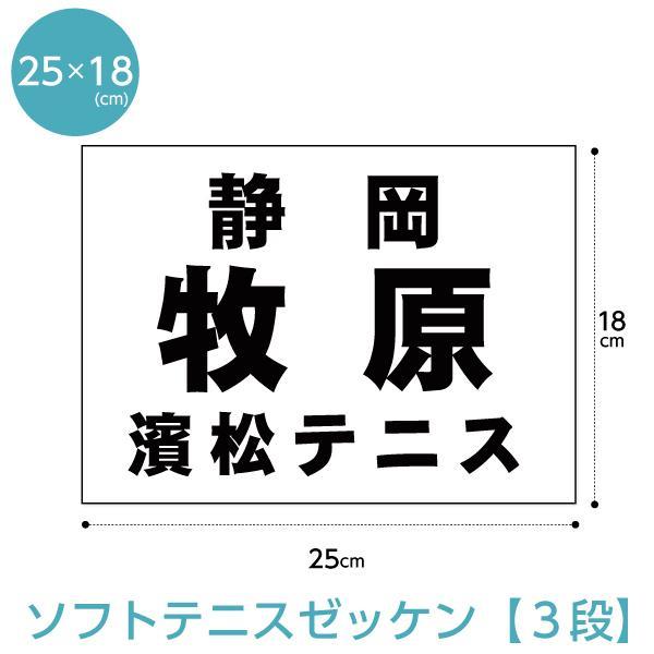ゼッケン ソフトテニス用3段組 W25cm×H18cm 推奨 H21年〜仕様 新登場
