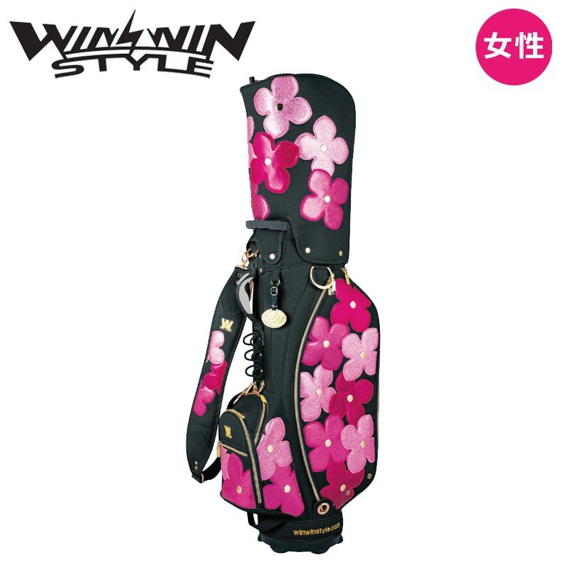 ウィンウィンスタイル フラワーガーデン カート キャディバッグ (3.6kg/9.0型x47インチ) ブラック 2019年モデル WINWIN STYLE FLOWER GARDEN Cart bag 19at