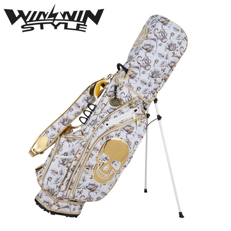 ウィンウィンスタイル スカル ローズ スタンド キャディバッグ ゴールドバージョン (2.5kg/9.0型x47インチ) 2019年 WINWIN STYLE Stand bag 19wn