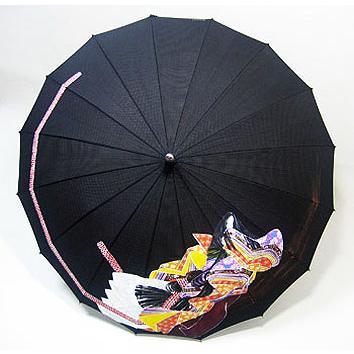 高級シルク傘 手描き京友禅「お姫さん」