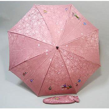 高級シルク折り畳み傘 手描き京友禅傘「親王行列」