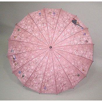 高級シルク傘 手描き京友禅傘「親王行列」