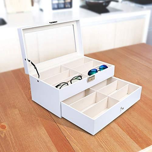 Goetland 眼鏡 メガネ サングラス 収納 ケース ボックス コレクション 展示用 ガラス天板 大容量 12本(二段式)|madoastartstore|07