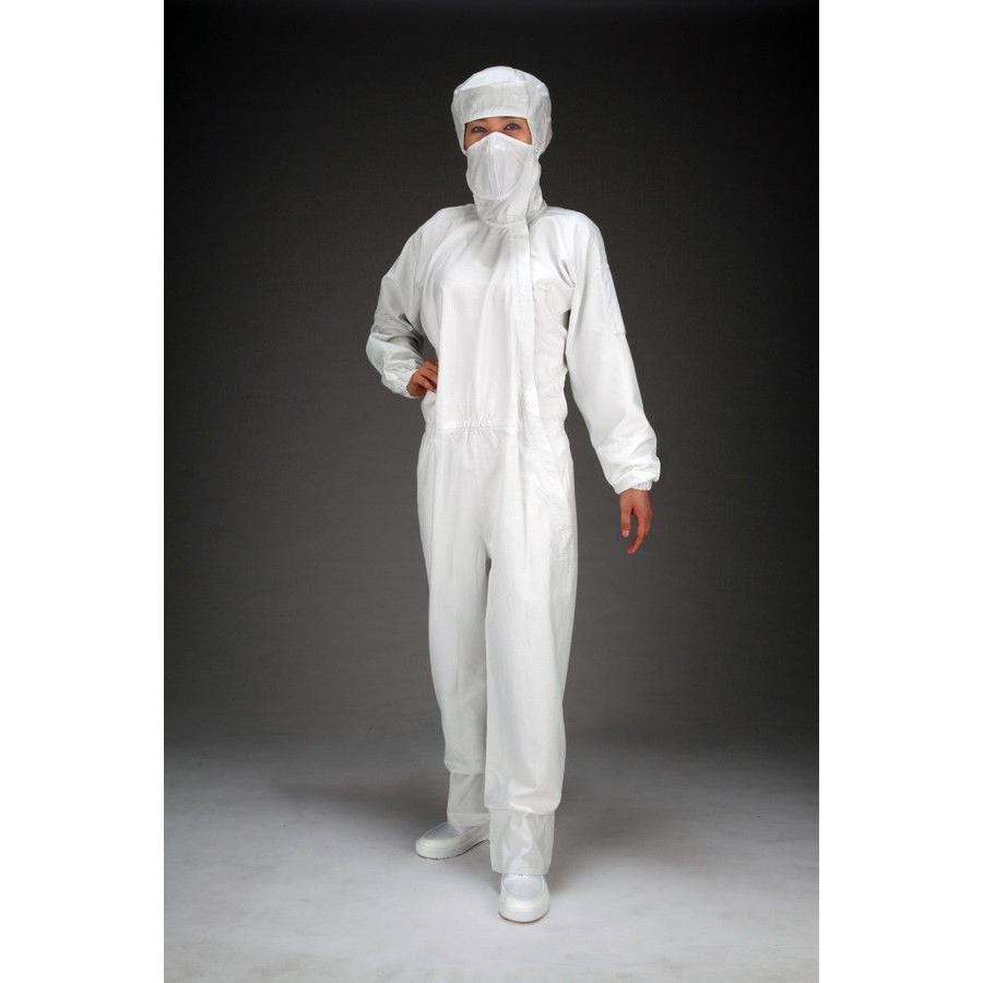 エスコ [3L]クリーンルーム用フード付継ぎ服(白/サイドファスナー) EA996DC-4
