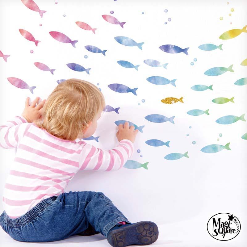 ウォールステッカー はがせる シール 壁紙 返品不可 全品最安値に挑戦 飾り いにしえの魚群 海 新 魚
