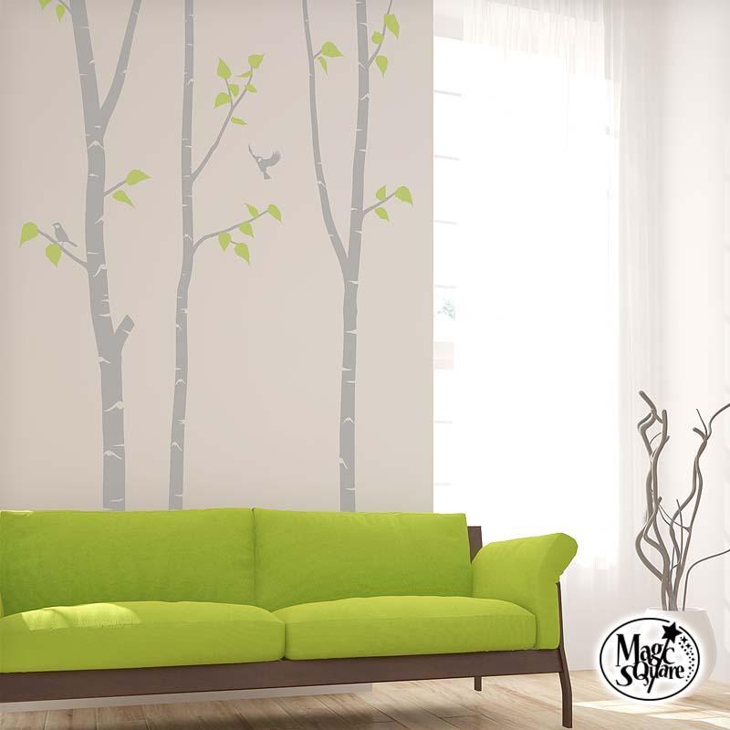 ウォールステッカー 木 シラカバ 売買 期間限定お試し価格 白樺 鳥 小鳥 葉 転写式 かわいい 北欧 デザイン シジュウカラ カッティングシート
