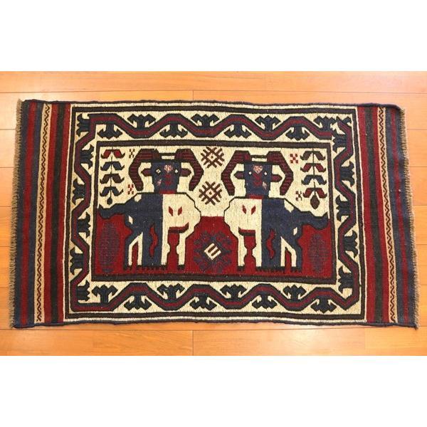 山羊柄 手織りキリム アフガニスタン産 タイマニ族作 140×80cm 手織り じゅうたん ラグ カーペット 新品 ウール アフガン KM5492