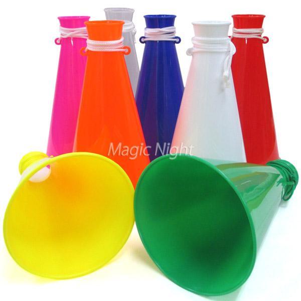新品未使用 カラフルメガホン 6色 赤 青 黄色 黄緑 応援メガホン 全長22cm 緑 ミニメガホン 白 高品質