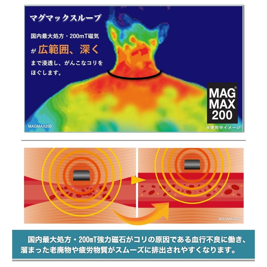 【送料無料】マグマックスループ 50cm 磁気ネックレス MAGMAX200 酷使して蓄積したつらい首・肩に つけるだけで血行改善 磁束密度200mT|magmax|03