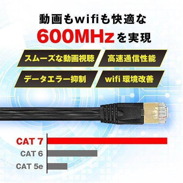 LANケーブル CAT7 2m フラット 10ギガビット 高速光通信 ツメ折れ防止 ランケーブル カテゴリー7|magokoro-store-v|03