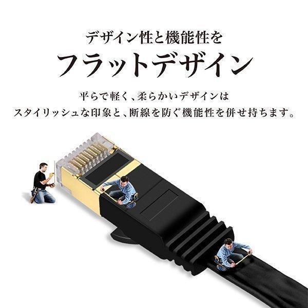 LANケーブル CAT7 2m フラット 10ギガビット 高速光通信 ツメ折れ防止 ランケーブル カテゴリー7|magokoro-store-v|06