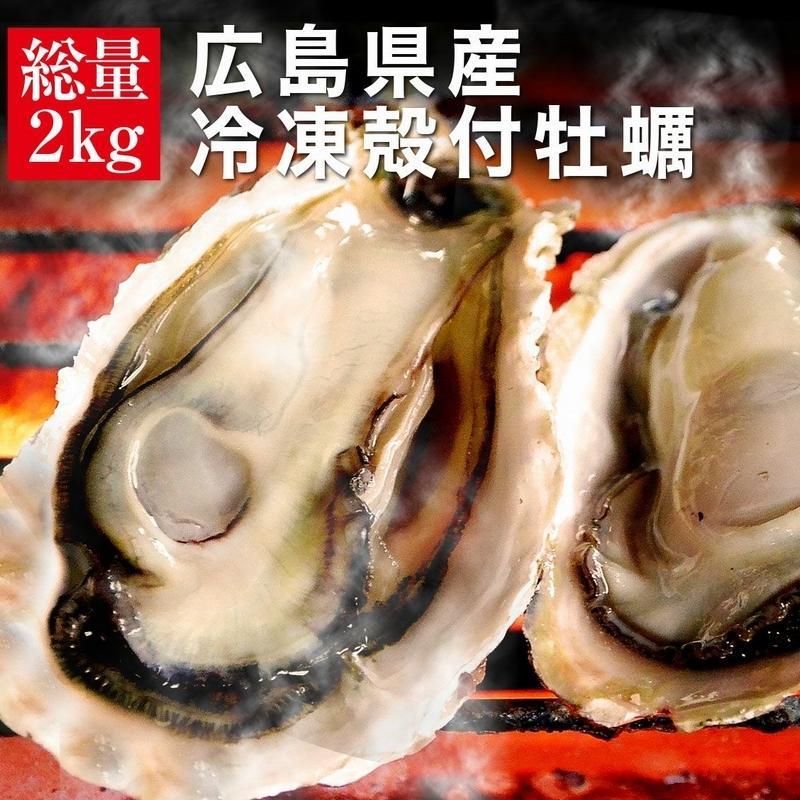 広島県産 売れ筋 冷凍殻付牡蠣 2kg 約15〜17個入 2〜3人前 バーベキュー カンカンは付いてません カンカン焼き追加用として人気 BBQ 大決算セール